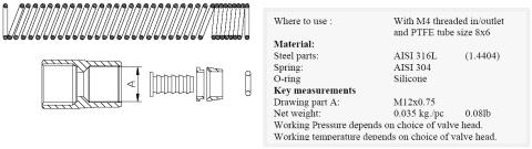 Keofitt M4 Sampling Valve Tube Fitting for PTFE (400075)