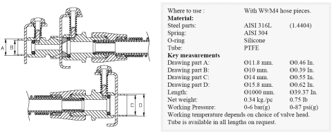 Keofitt W9 PTFE Tubing with Quick Coupling (550003)