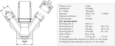 Keofitt W9 type T W/M16X1,5 Sampling Valve Body (850015)